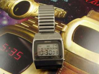 SEIKO QUARTZ LC DIGITAL CALENDAR MENS WATCH VINTAGE 1970s STEEL CASE