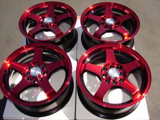 15 x 6.5 WHEELS RIMS ez go club car yamaha golf cart RED BLACK 4 lug