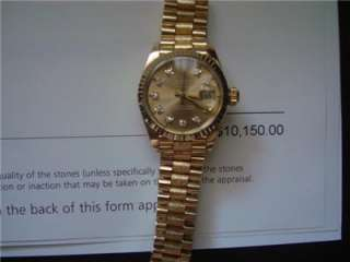PRESIDENT w/ DIAMONDS Dial 6917 Solid 18K Y.GOLD Lds PAPERS Authentic