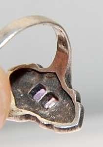 VTG Art Deco Sterling Silver Pink Topaz Marcasite Ring