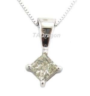 100% Natural Solitaire Princess Diamond 14K White Gold Pendant