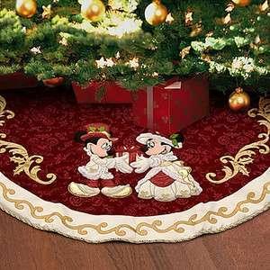 Disney World Mickey & Minnie Victorian Christmas Tree Skirt NEW