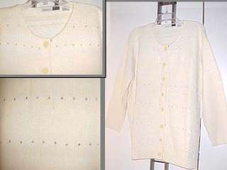 Sz 2X Sweater Rhinestones Buttons Winter White LS Angora New Cardigan
