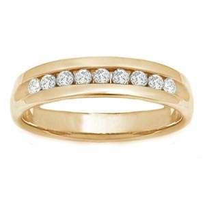 Carat Diamond 14k Yellow Gold Mens Wedding Ring