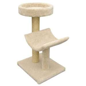 2 Tier Cat Scratching Post w Carpeted Bed and Cradle Perch