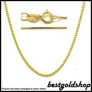 Solid Baby Box Chain Necklace 14K Yellow Gold 0.45mm