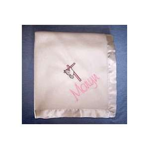 Personalized Baby Blanket   Cross with Dove Baby