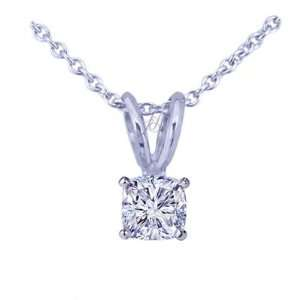 1.10 Ct Cushion Ideal Cut Diamond Solitaire Pendant 14K