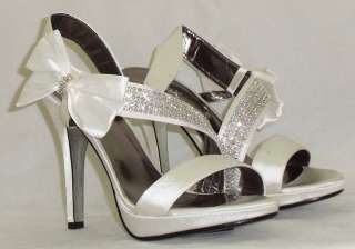 Satin high heel diamonte + bow side wedding party shoes NEW