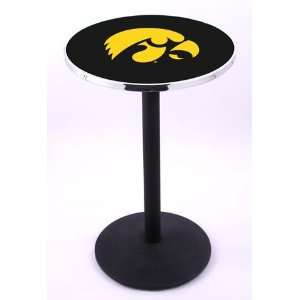 University of Iowa Hawkeyes Pub Table With Chrome Edge