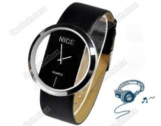 NEW Fashion PU Leather Transparent Dial Fashion Lady Watch