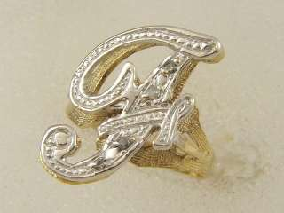WHITE GOLD LADIES RIGHT HAND PAVE DIAMOND F NAME INITIAL RING