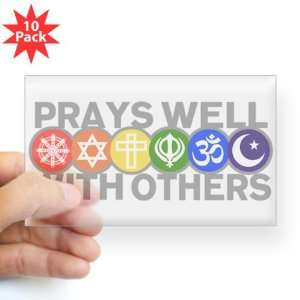10Pk) Prays Well With Others Hindu Jewish Christian Peace Symbol Sign