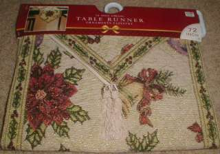 Ornaments Tapestry Christmas Holiday Table Runner 72 long by 13 wide