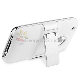 Deluxe White Case Stand Cover w/Chrome For Apple iPhone 3G 3GS Skin