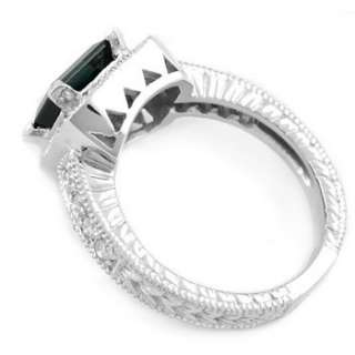 BLUE TOURMALINE DIAMOND 14K WHITE GOLD ENGAGEMENT RING VINTAGE ANTIQUE