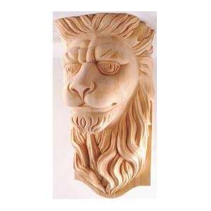 17H X 10 1/2W x 8D , Hand Carved Hard Wood Lion Head