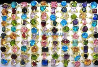 wholesale jewelry lots 40pcs Crystal Zircon gold plated Rings New free