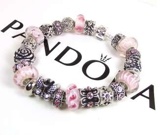 Mothers Day Gift Authentic Pandora Bracelet Chain Pink Bead Silver