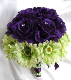 17pc wedding Bouquet Bridal flowers PURPLE GREEN DAISY