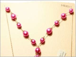 CZECH VINTAGE WIRED DROP PINK FAUX PEARL GLASS BEADS NECKLACE