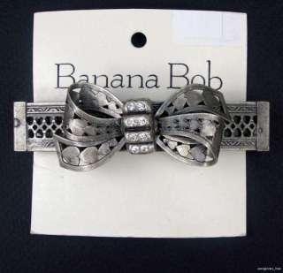 BOB Vintage SWAROVSKI CRYSTAL Rhinestone BOW Hearts BARRETTE Hair Clip