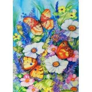 Butterfly Flower Garden Large Summer Flag 28 x 40 for