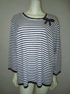 NWT $56 Plus Size C D Daniels Brown Striped Knit Career Sweater Top 2X