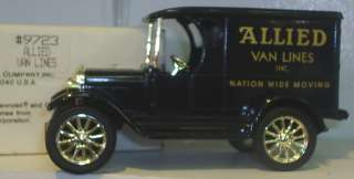 CHEVROLET PANEL TRUCK ALLIED VAN LINES DIECAST COIN BANK LOCKING KEY