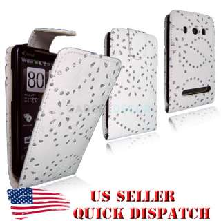 4G WHITE FLIP OPEN LEATHER BLING DIAMOND JEWEL CASE COVER POUCH