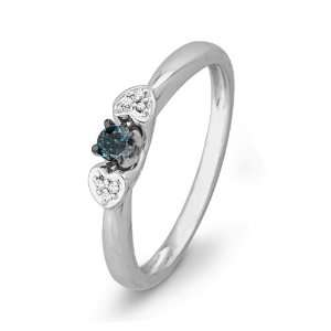 White Gold Blue And White Round Diamond Heart Promise Ring (1/10 cttw