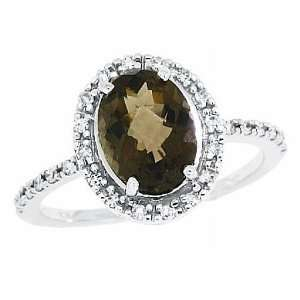 10 Ct Oval Checkerboard cuts Smoky Quartz Diamond Ring in 14Kt White