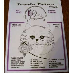 Hot Iron Transfer Pattern #1089 Cat with Rose (For Punch