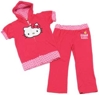 HELLO KITTY Girls Pink Hoodie & Crop Pants Set NEW