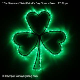 St. Patricks Day LED Rope Light Decoration Sign Display, Irish Clover
