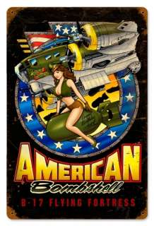 American Bombshell sexy B 17 Flying Fortress metal sign