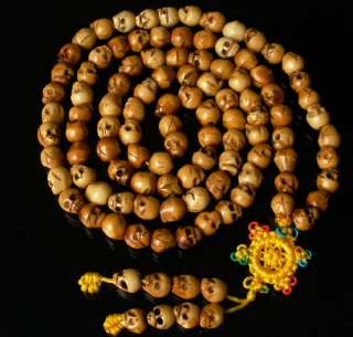 108 Tibet Ox Bone .3 Skulls Beads Buddhist Prayer Mala