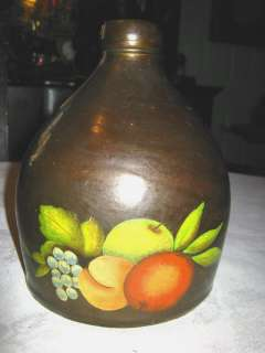 ANTIQUE COUNTRY KITCHEN STONEWARE BEE HIVE APPLE ART JUG OIL PAINTING