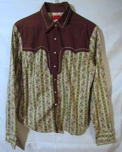 Levis Red Tab, Blouse Top, Women Lrg, Green/Brown Western Style w