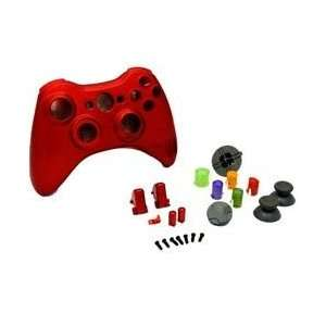 NEW CHROME RED XBOX 360 WIRELESS CONTROLLER FULL HOUSING SHELL CASE
