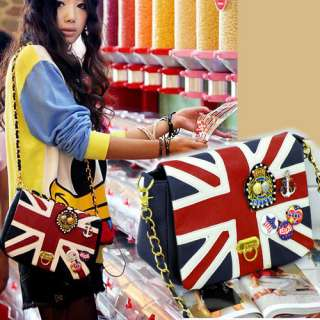 Fashion Women Korea With UK Flag Union Jack Badge Chain Shoulder Bag