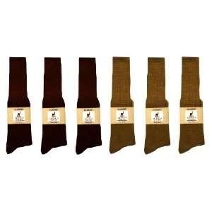 Alpaca Classic Socks   6 Pairs Large   Brown & Camel