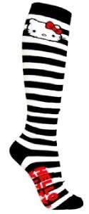 Loungefly Hello Kitty Black White Knee High Socks NEW