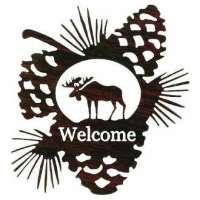 Wilderness Moose & Pine Cones Welcome Sign Lazer Cut Metal Wall Art