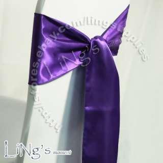 x108 Purple Satin Chair Sash Bow Wedding Party Banquet Decoration