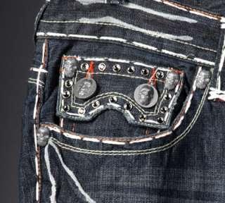Laguna Beach Jeans Mens HUNTINGTON White stitch 1G Crystals *SAMPLE