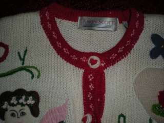 Karen Scott Ladies Size Medium Angel & Hearts Sweater Pre Owned