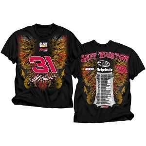 31 Jeff Burton CAT Mens Black 2011 Schedule Tee Shirt  91113