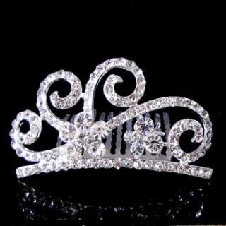 rhinestone crystal crown hair comb tiara bridal wedding