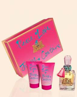 PEACE LOVE JUICY COUTURE GIFT SET (3) LOTION SHOWER GEL